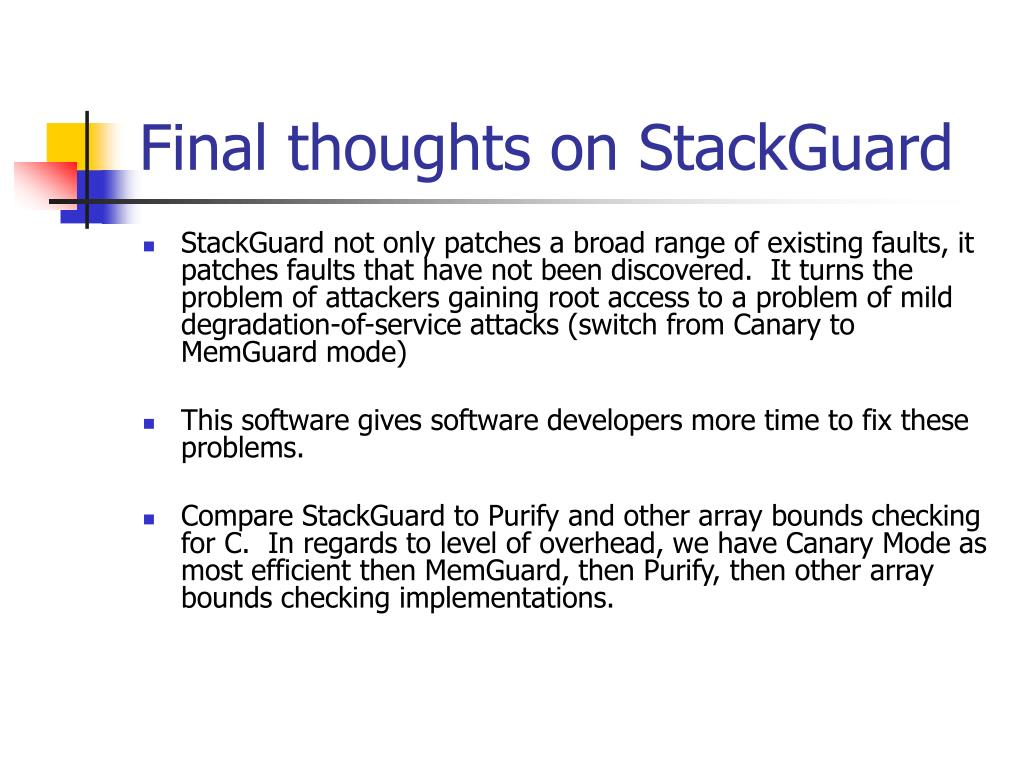 Final thoughts on StackGuard