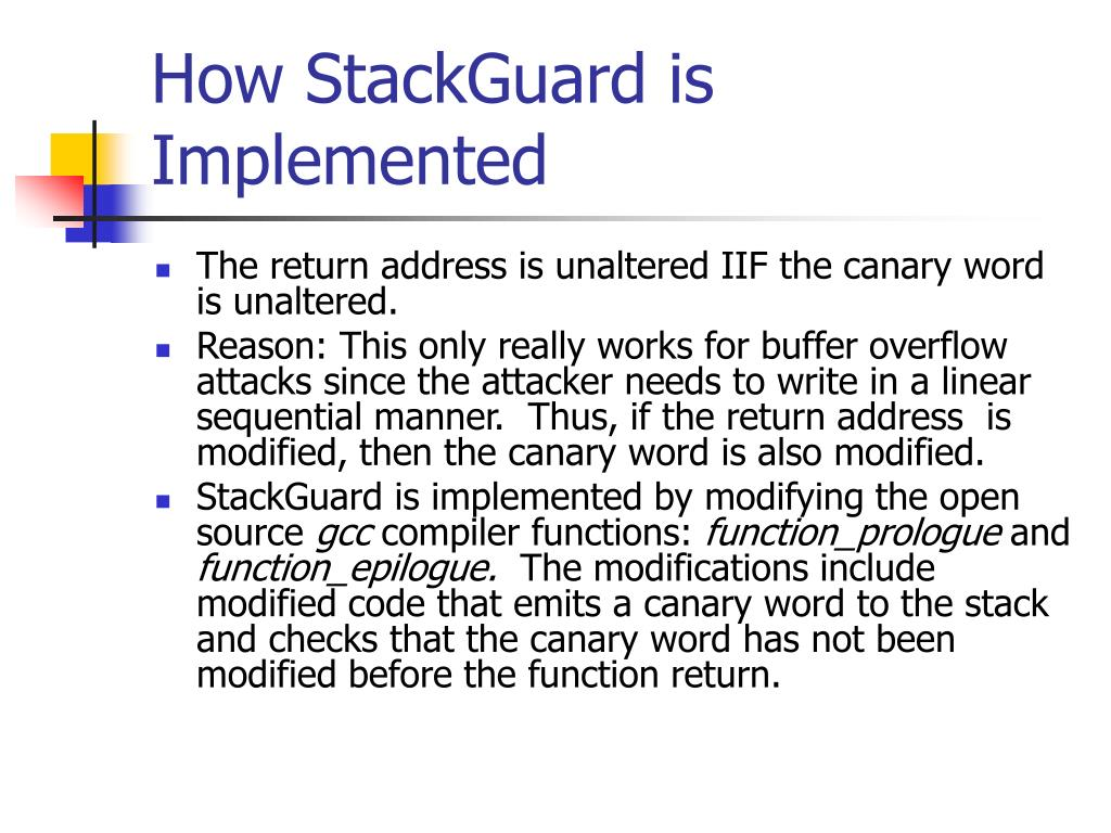 How StackGuard is Implemented
