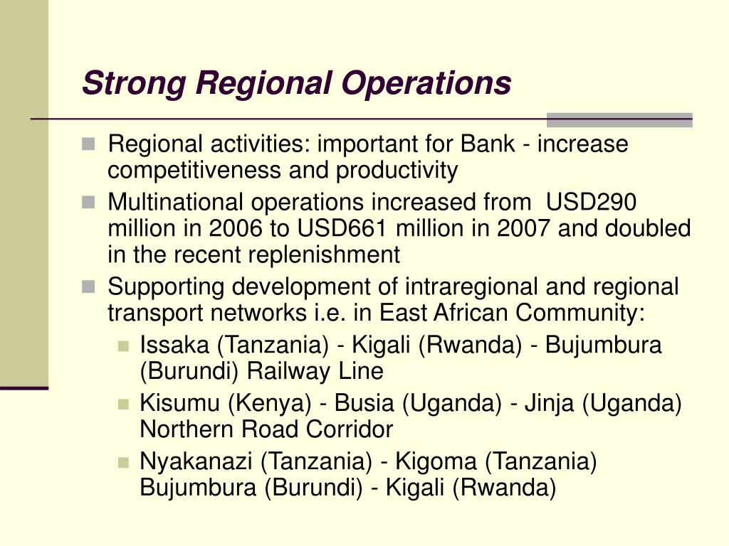 Strong Regional Operations