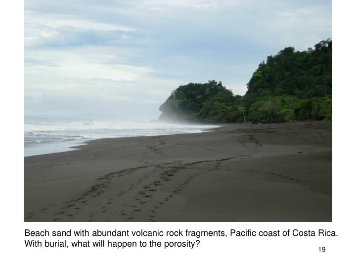 Beach sand with abundant volcanic rock fragments, Pacific coast of Costa Rica.