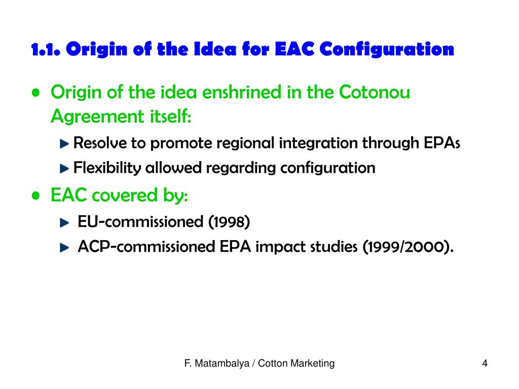 1.1. Origin of the Idea for EAC Configuration