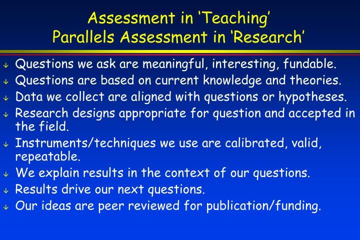 Assessment in 'Teaching'
