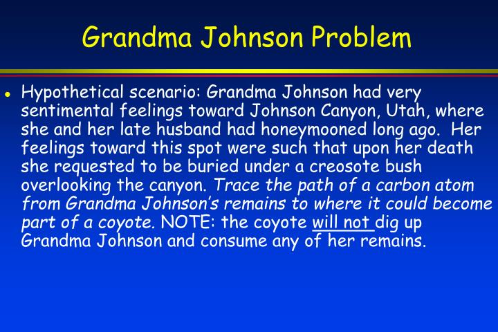 Grandma Johnson Problem