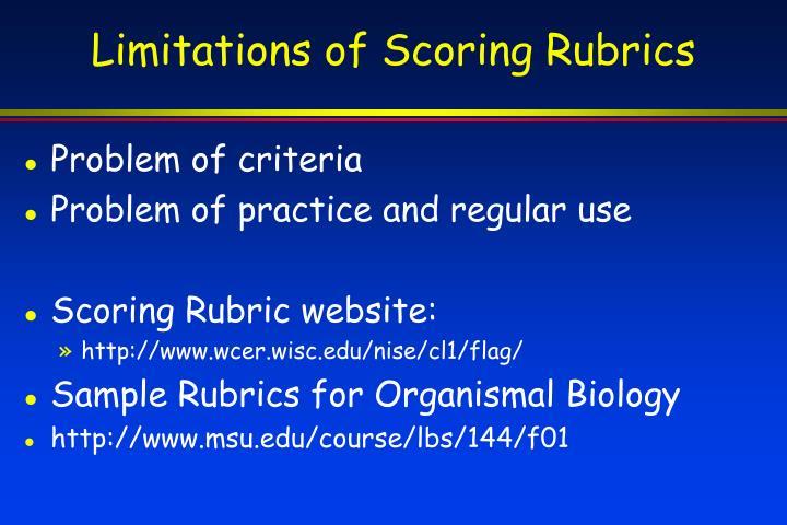 Limitations of Scoring Rubrics