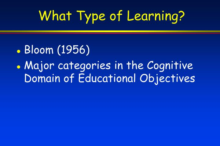 What Type of Learning?
