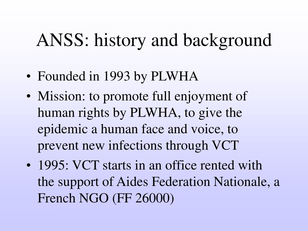 ANSS: history and background