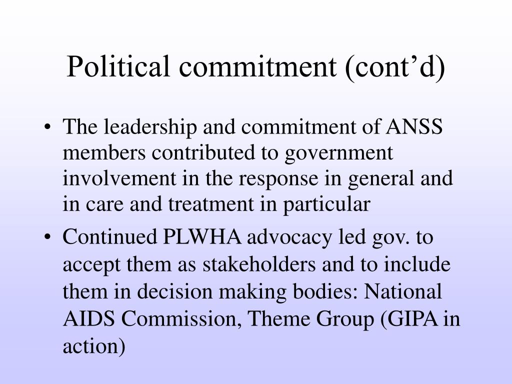 Political commitment (cont'd)