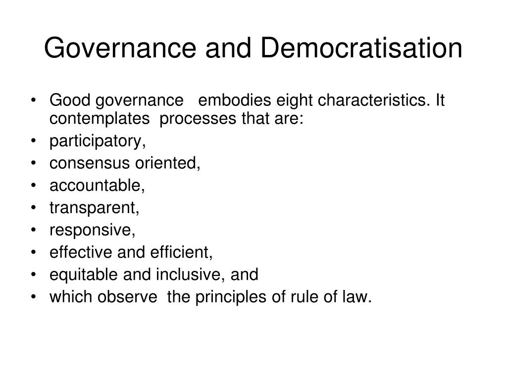 Governance and Democratisation