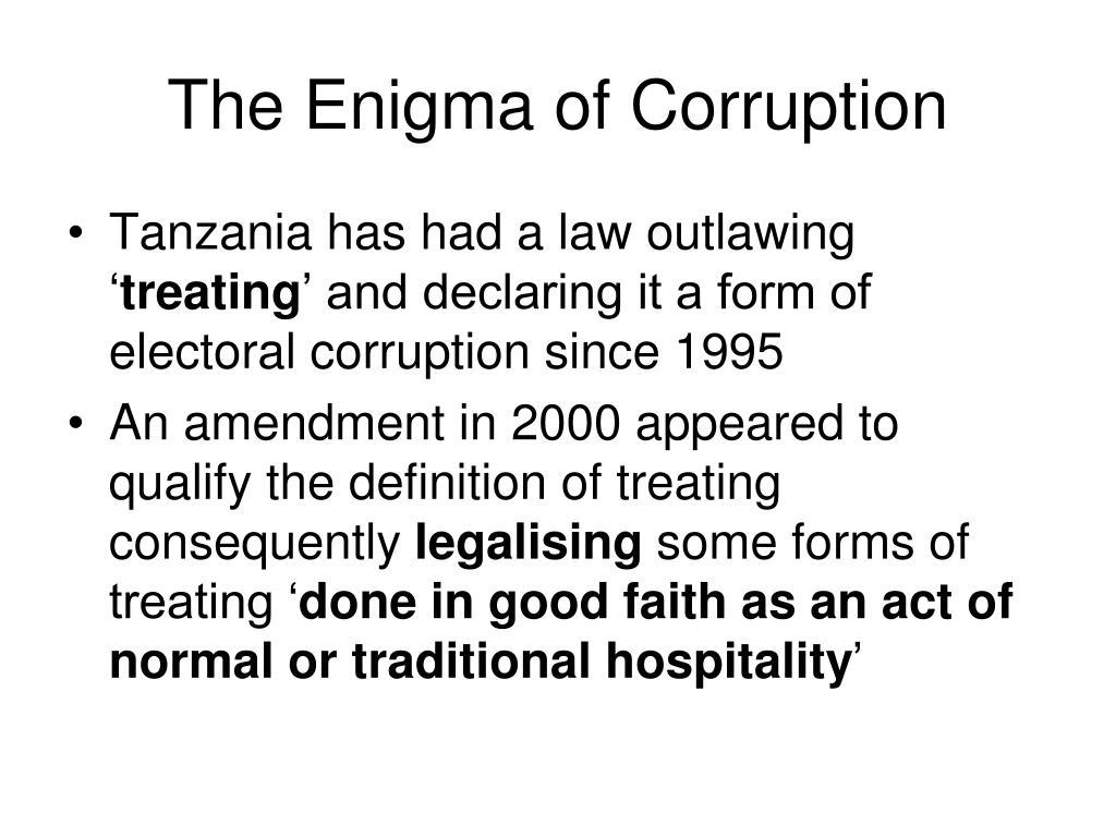 The Enigma of Corruption