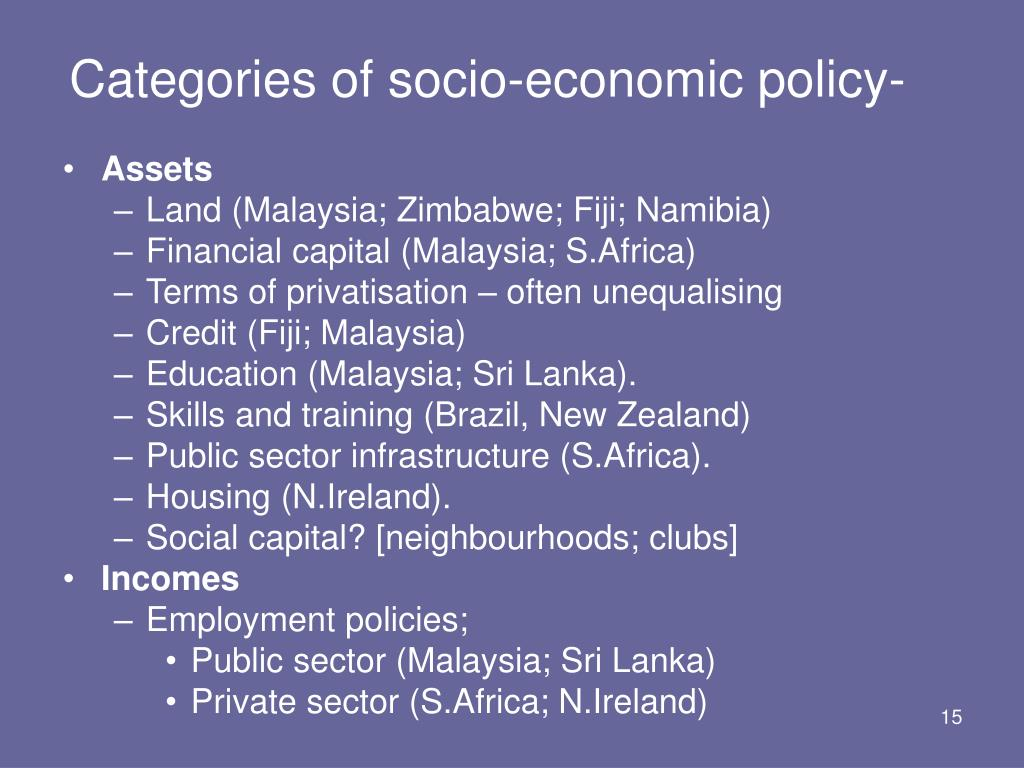 Categories of socio-economic policy-