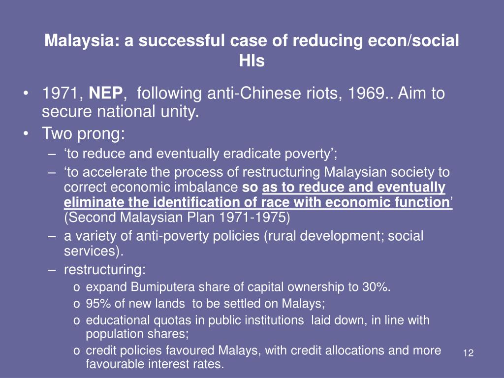 Malaysia: a successful case of reducing econ/social HIs