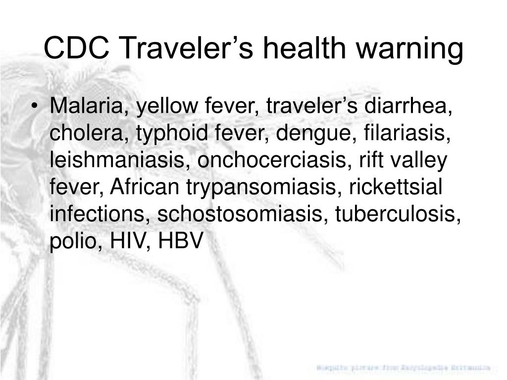 CDC Traveler's health warning