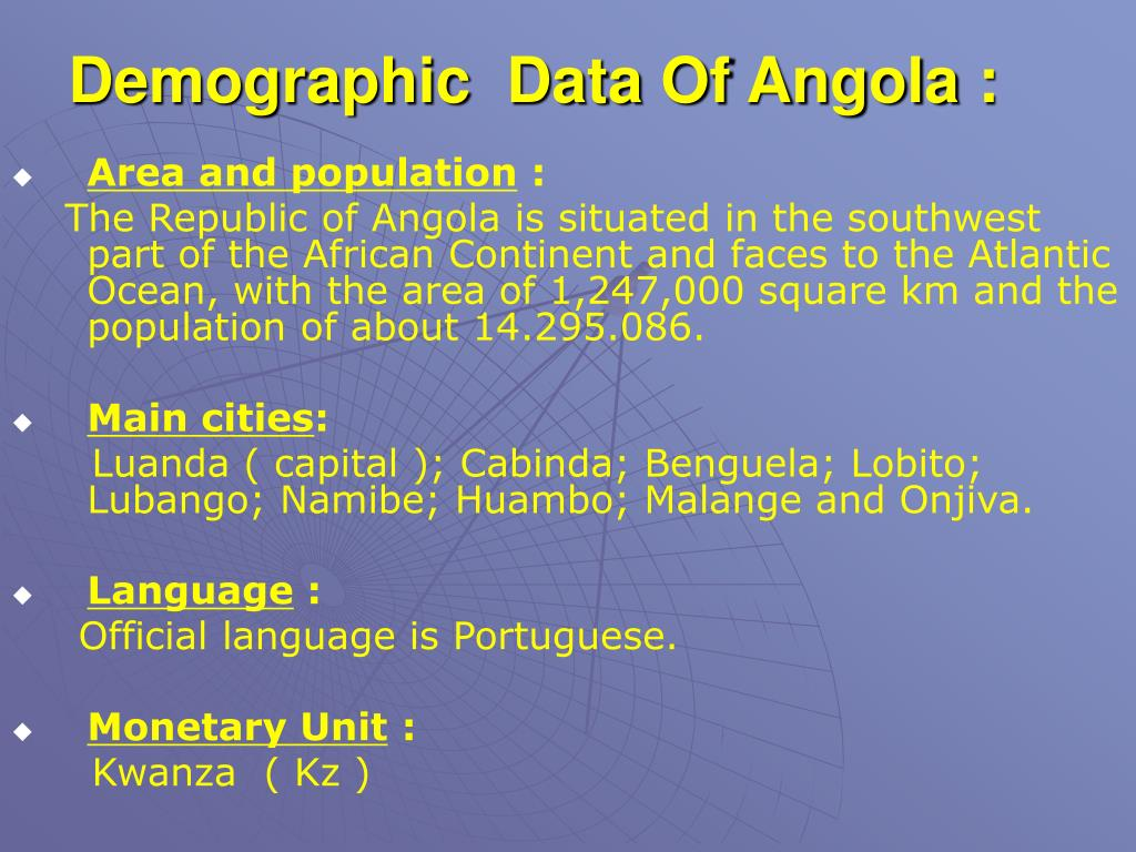 Demographic  Data Of Angola :
