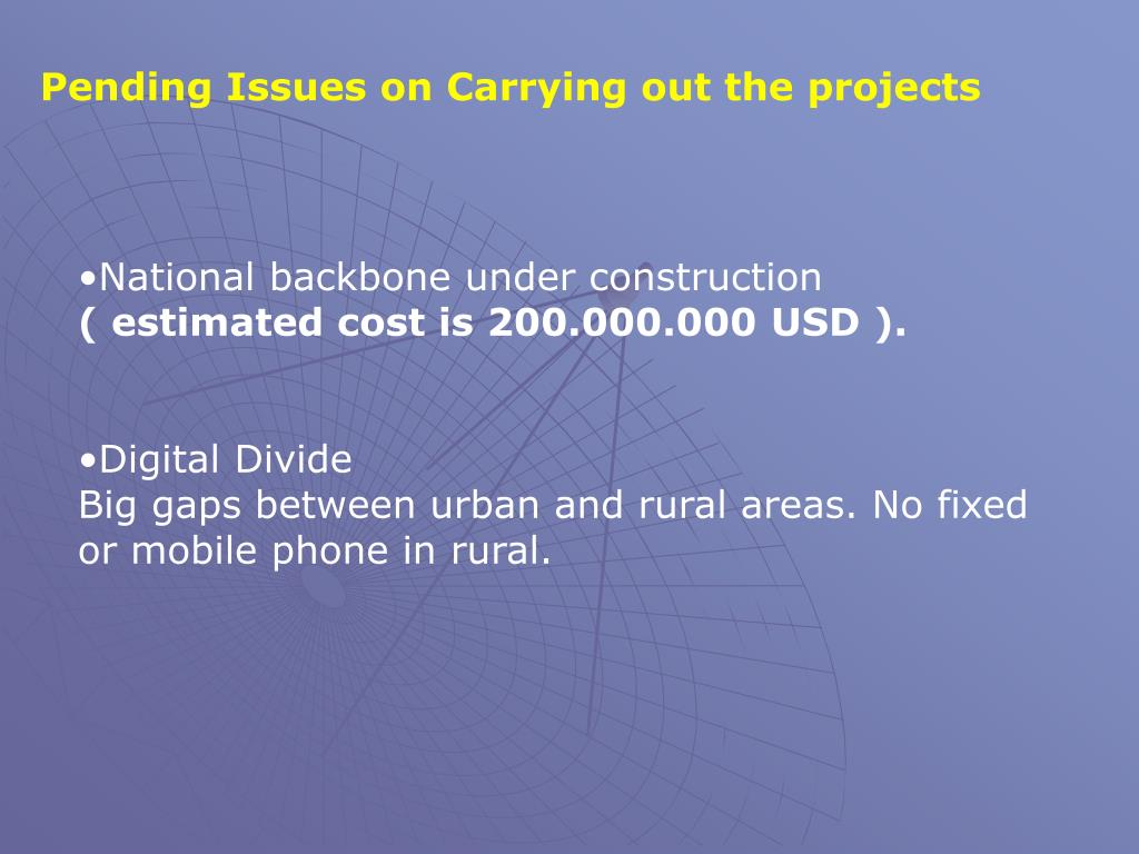 Pending Issues on Carrying out the projects