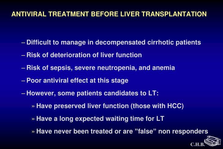 ANTIVIRAL TREATMENT BEFORE LIVER TRANSPLANTATION