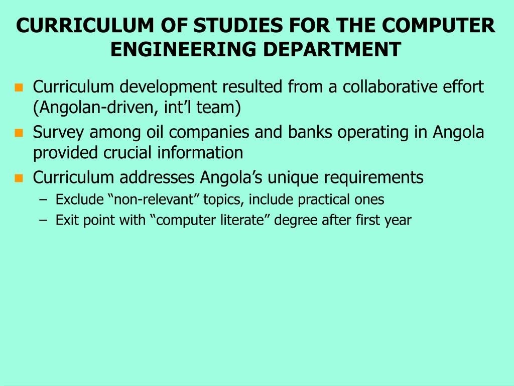 CURRICULUM OF STUDIES FOR THE COMPUTER ENGINEERING DEPARTMENT