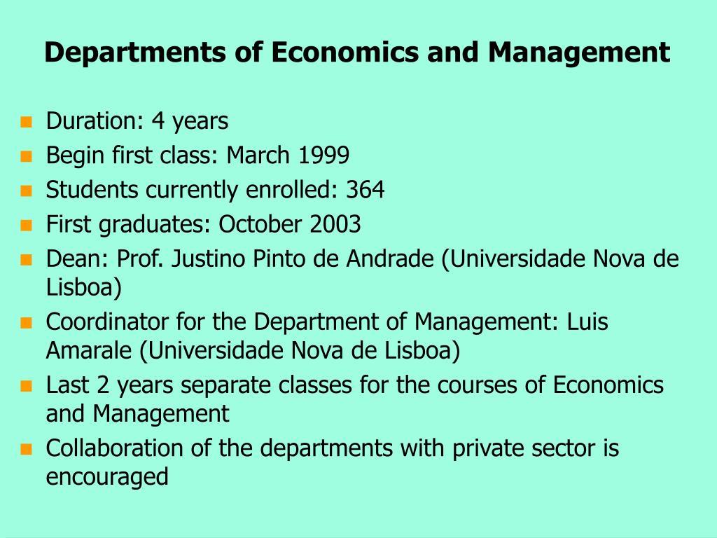 Departments of Economics and Management