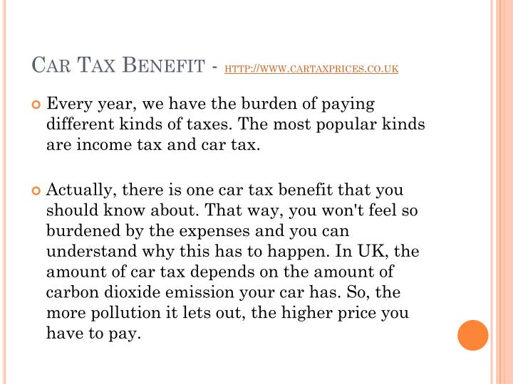 Car tax benefit http www cartaxprices co uk