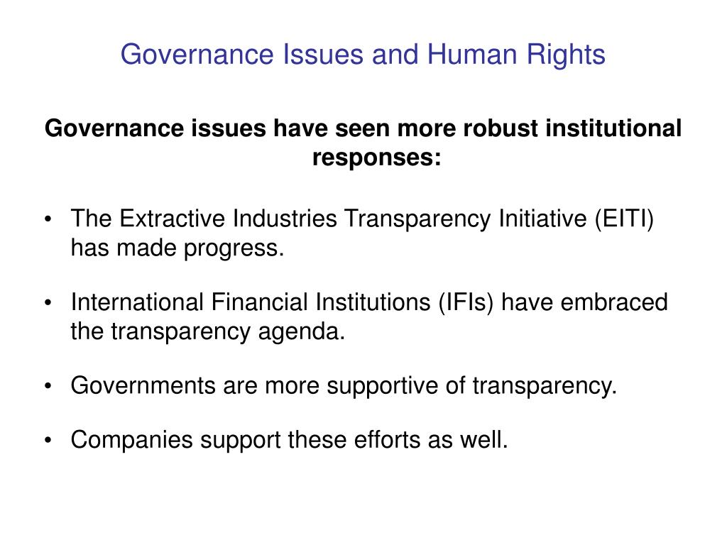 Governance Issues and Human Rights
