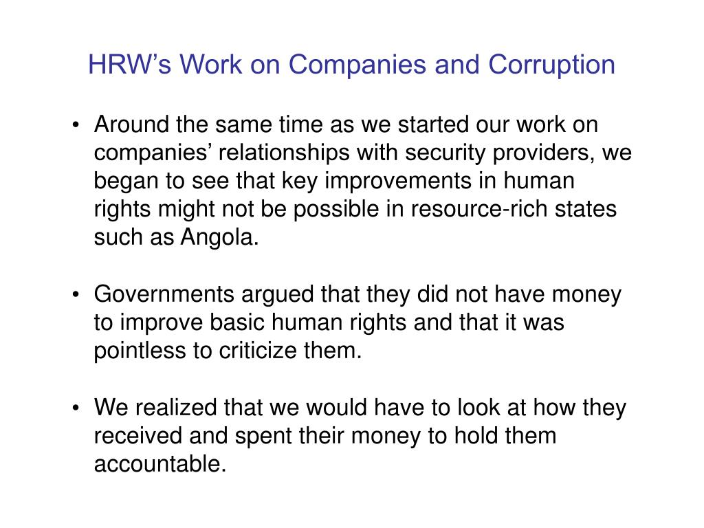HRW's Work on Companies and Corruption