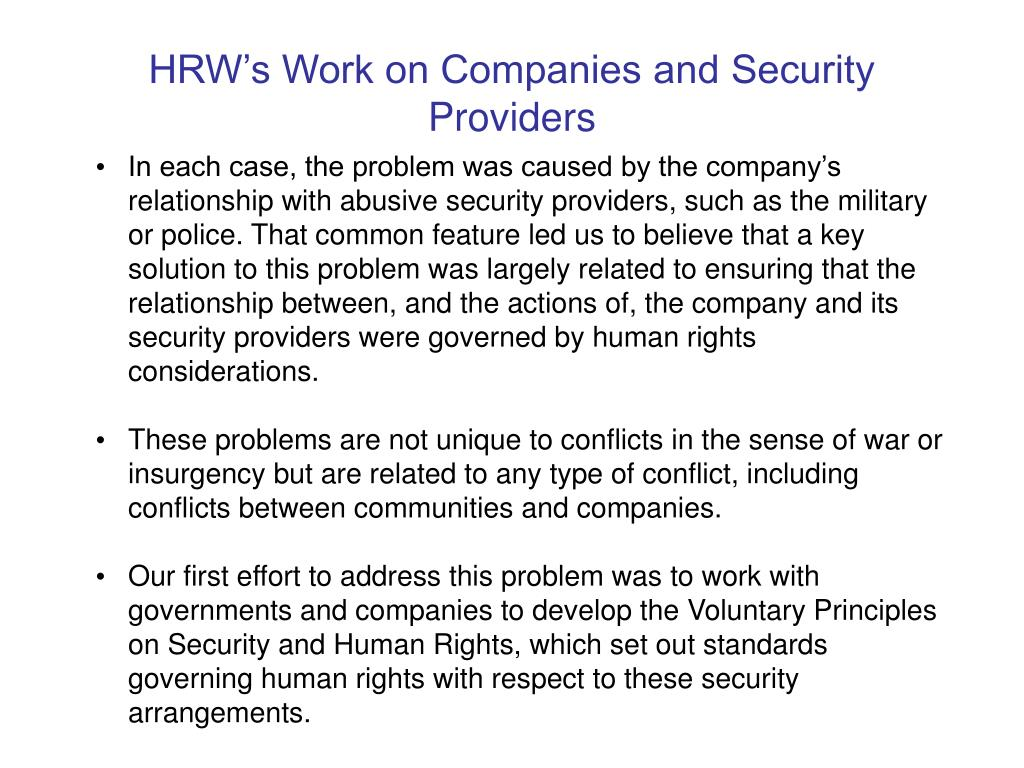 HRW's Work on Companies and Security Providers