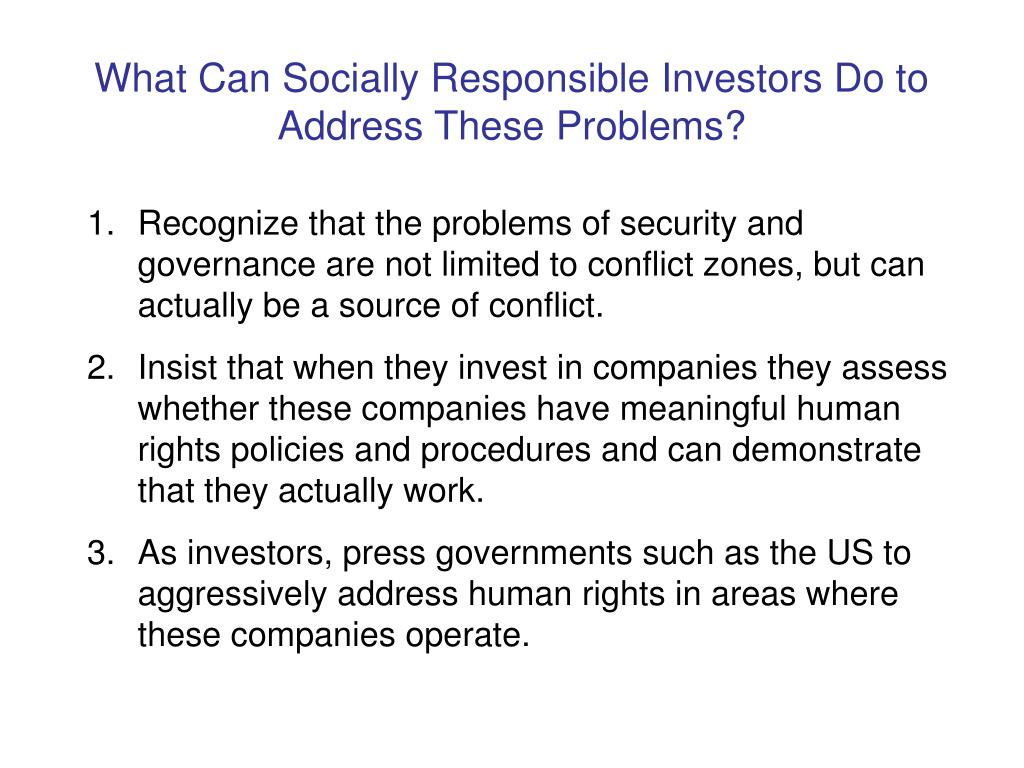 What Can Socially Responsible Investors Do to Address These Problems?