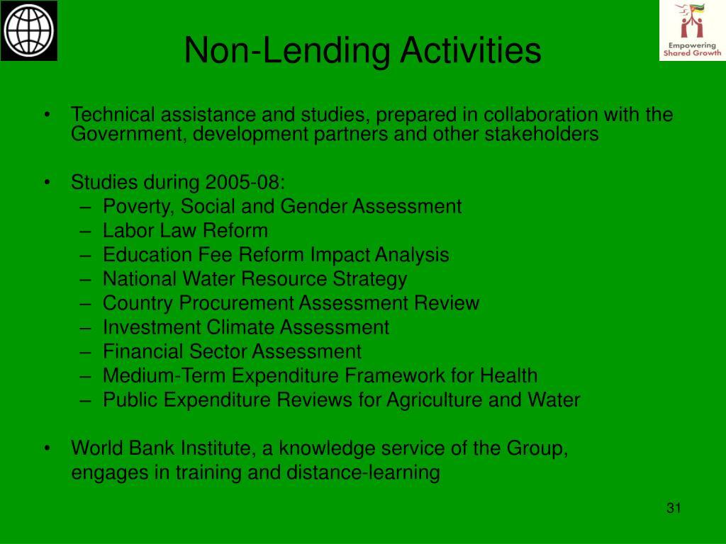 Non-Lending Activities