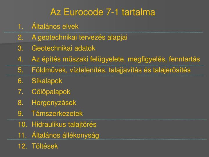 Az Eurocode 7-1 tartalma