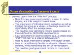 donor evaluation lessons learnt