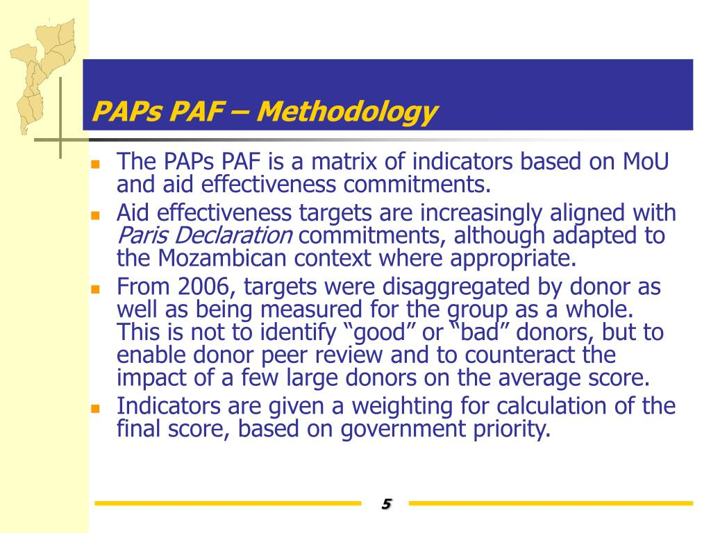 PAPs PAF – Methodology