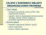 ciljevi i korisnici oblasti organizacionih promena