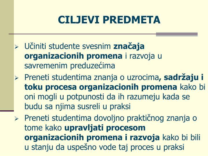 CILJEVI PREDMETA
