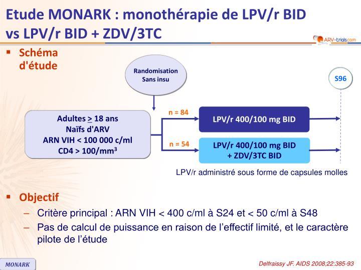 Etude MONARK : monothérapie de LPV/r BID