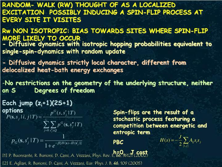 RANDOM- WALK (RW) THOUGHT OF AS A LOCALIZED EXCITATION  POSSIBLY INDUCING A SPIN-FLIP PROCESS AT EVERY SITE IT VISITES