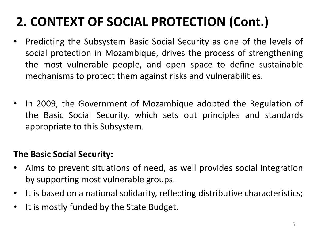 2. CONTEXT OF SOCIAL PROTECTION (Cont.)