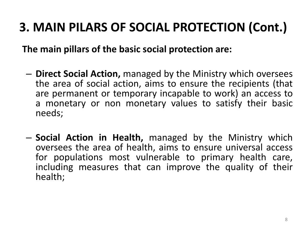 3. MAIN PILARS OF SOCIAL PROTECTION (Cont.)