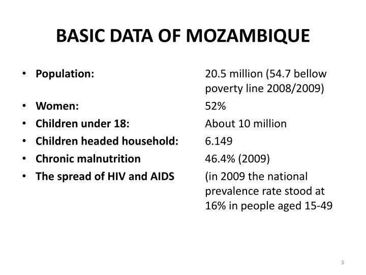 Basic data of mozambique