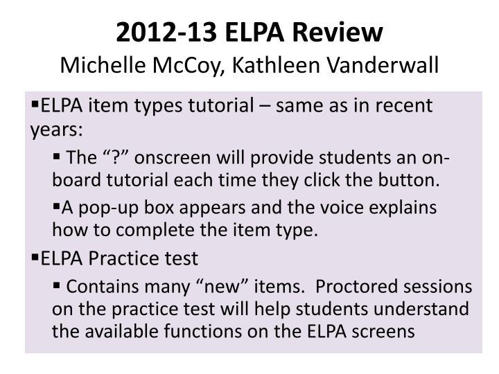 2012-13 ELPA Review