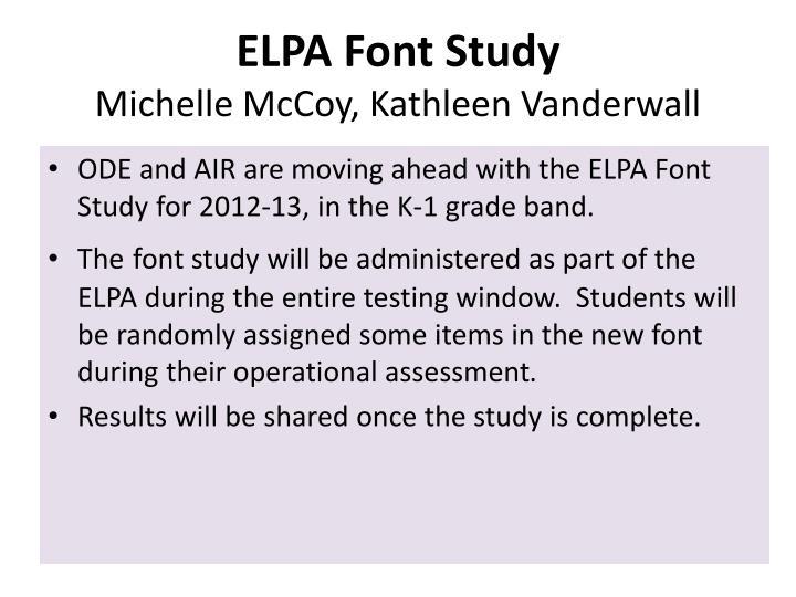 ELPA Font Study