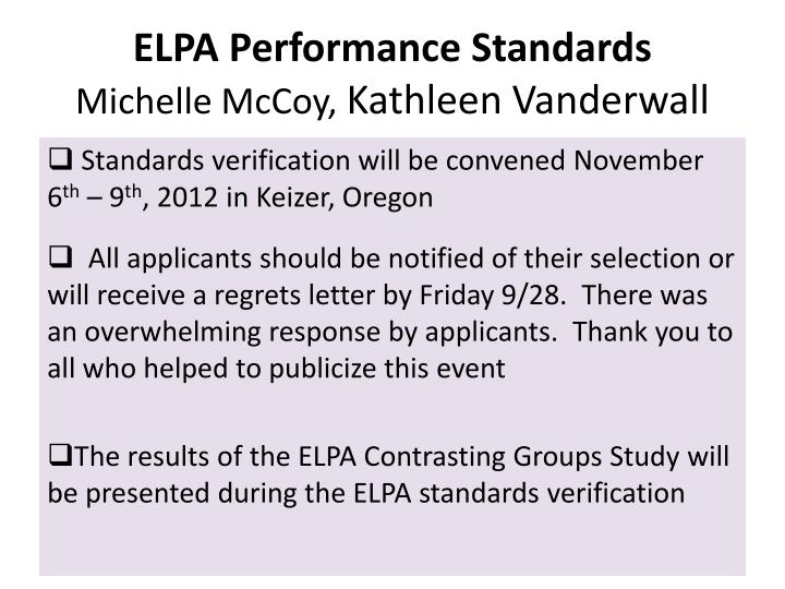 ELPA Performance Standards