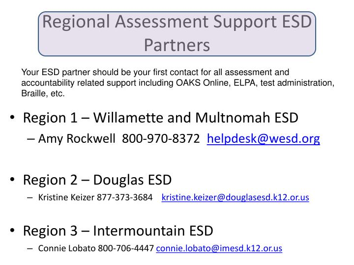 Regional Assessment Support ESD Partners