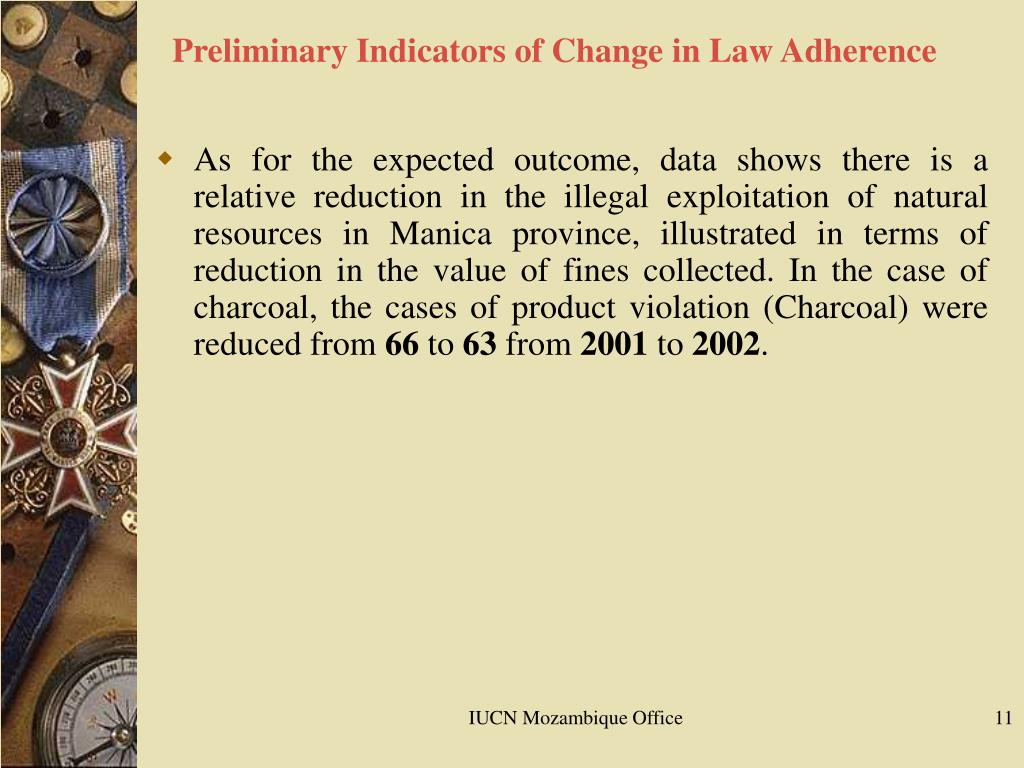 Preliminary Indicators of Change in Law Adherence