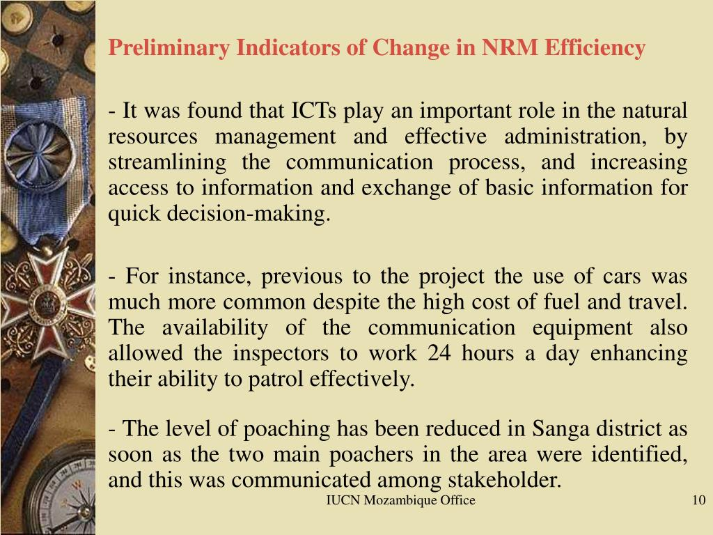Preliminary Indicators of Change in NRM Efficiency