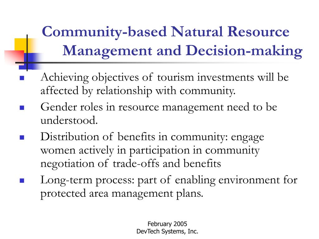 Community-based Natural Resource Management and Decision-making