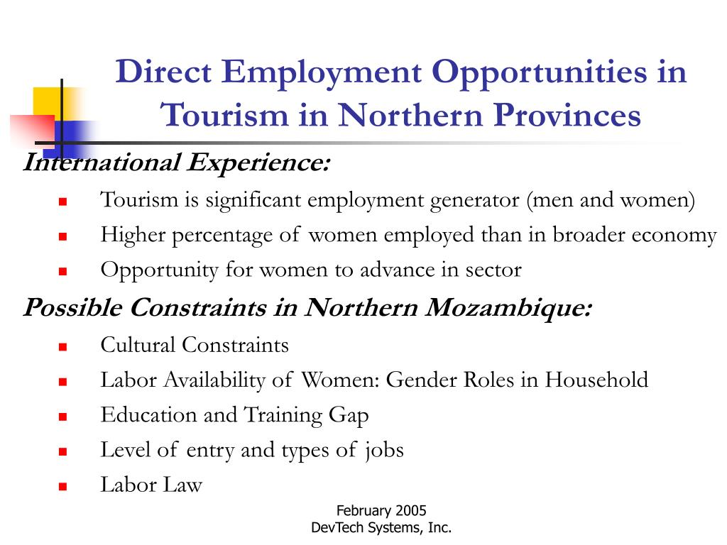 Direct Employment Opportunities in Tourism in Northern Provinces