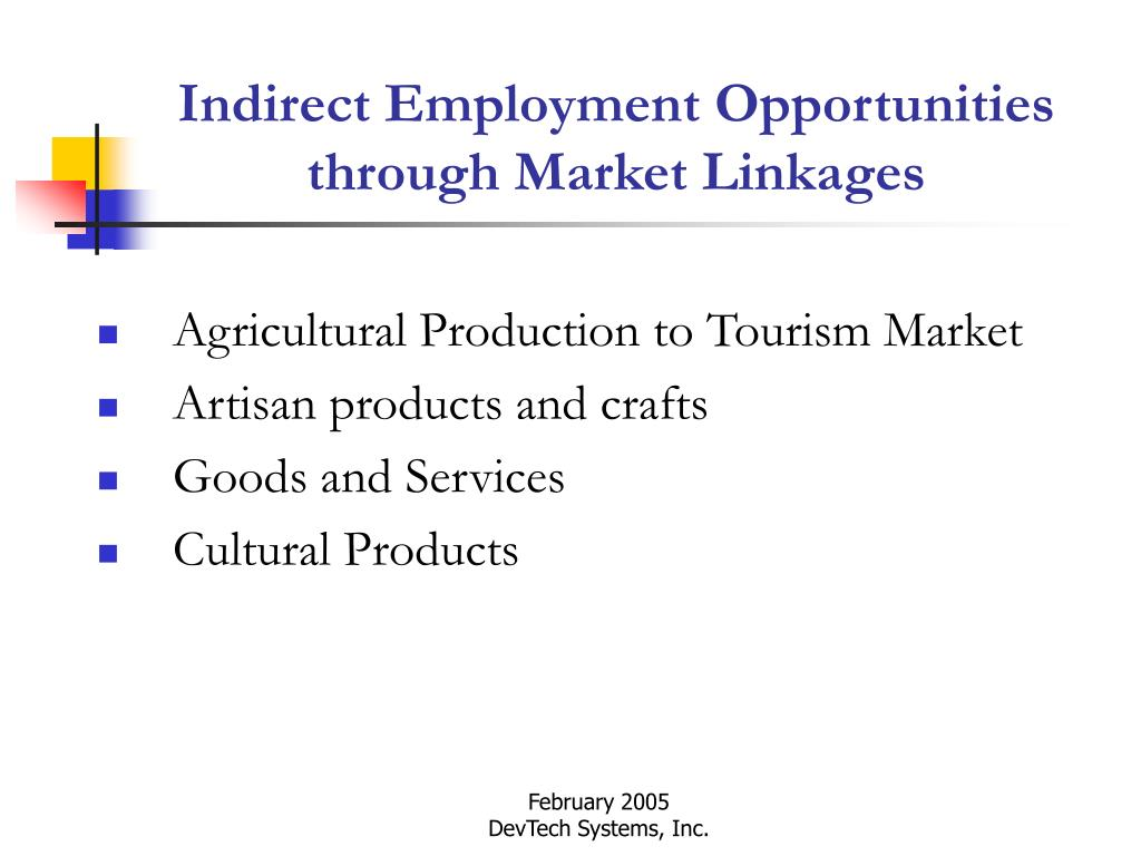 Indirect Employment Opportunities through Market Linkages
