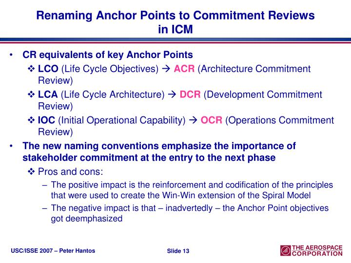 Renaming Anchor Points to Commitment Reviews in ICM