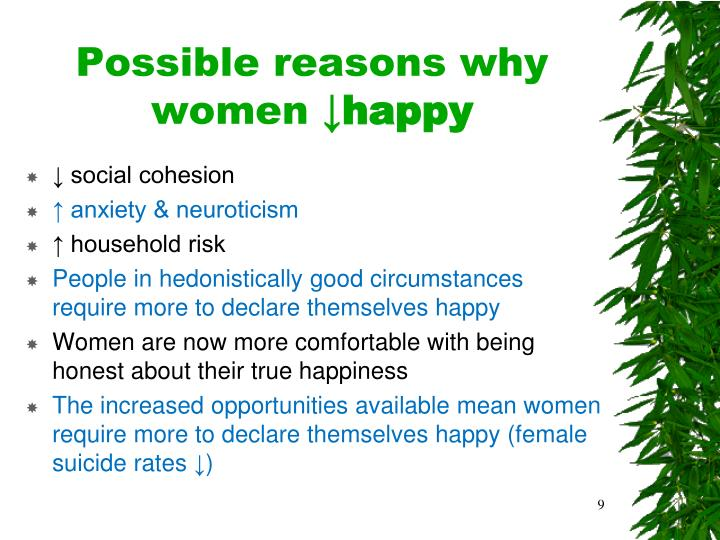 Possible reasons why women