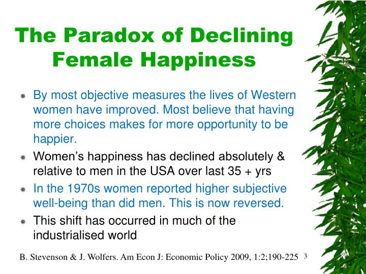 The paradox of declining female happiness
