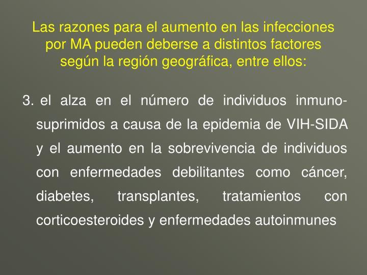 Las razones para el aumento en las infecciones por MA pueden deberse a distintos factores según la región geográfica, entre ellos:
